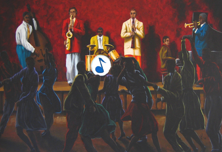 Jazz painting capturing the energy of a swing club