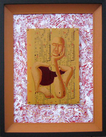 Broken figure on Circuit Board, rich textured backing board. Framed. Acrylic, PCB, Texture on Canvas Panel