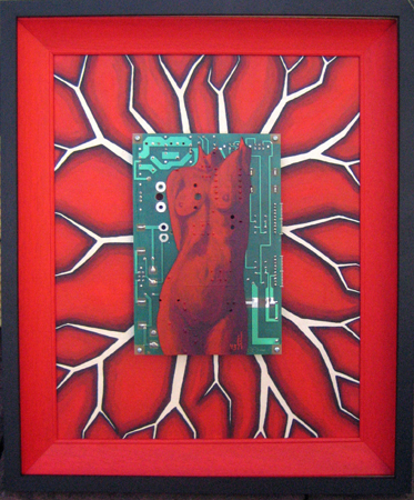 Figure on Printed Circuit Board. Acrylic on PCB, Canvas. Framed.