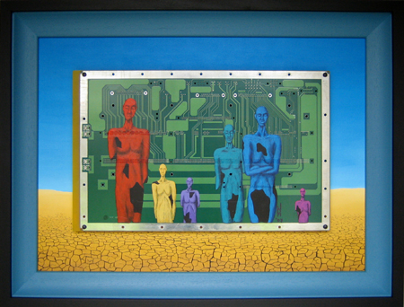 James Quinn trademark Broken Sculpture figures on large PCB. New on-line communities flourish regardless of individuals locations, backgrounds or appearance